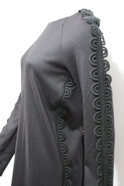 Black Wool Cocktail Elegant Classic Luxury Dress Long Sleeves Side Pockets Chloe New Women Size 6