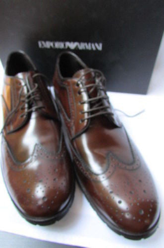 Brown Leather Classic Suit Work Shoes Emporio Armani New Men Fashion Size 11 $625