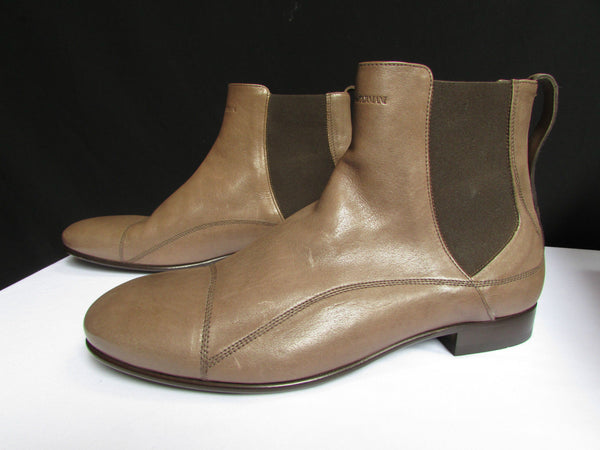 New Authentic Emporio Armani Brown Leather Men Boots Taupe Shoes Size 40/6.5