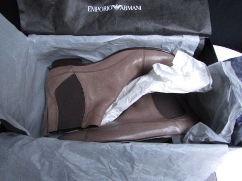 Taupe Brown Boots Shoes Leather Classic Emporio Armani New Men Fashion 40/6.5