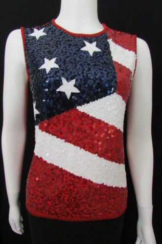 Red Blue White Sexy Top Knit USA American Flag Sequins Beads New Escada Women Fashion Size 36
