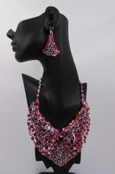 Red With Pink / Silver / Multi Colored Rhineston Bid Collar Metal Chains Necklace + Earrings Set New Women Fashion - alwaystyle4you - 34