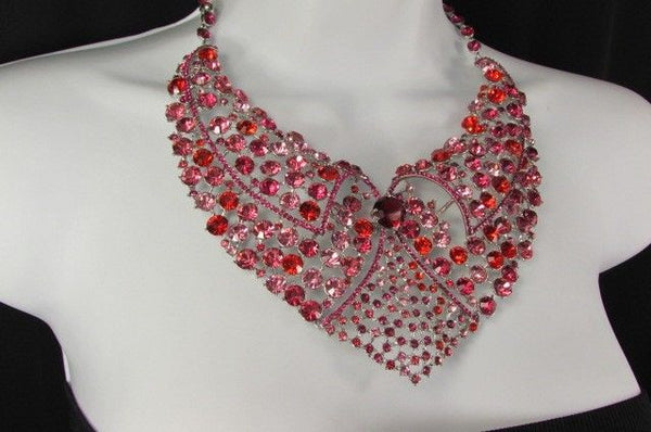 Red With Pink / Silver / Multi Colored Rhineston Bid Collar Metal Chains Necklace + Earrings Set New Women Fashion - alwaystyle4you - 37