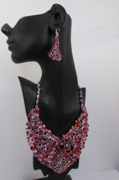 Red With Pink / Silver / Multi Colored Rhineston Bid Collar Metal Chains Necklace + Earrings Set New Women Fashion - alwaystyle4you - 38