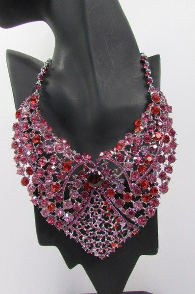 Red With Pink / Silver / Multi Colored Rhineston Bid Collar Metal Chains Necklace + Earrings Set New Women Fashion - alwaystyle4you - 42