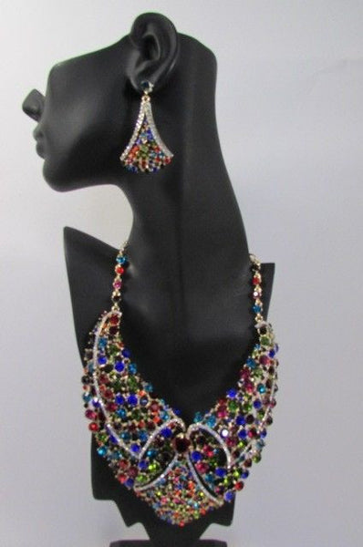 Red With Pink / Silver / Multi Colored Rhineston Bid Collar Metal Chains Necklace + Earrings Set New Women Fashion - alwaystyle4you - 17