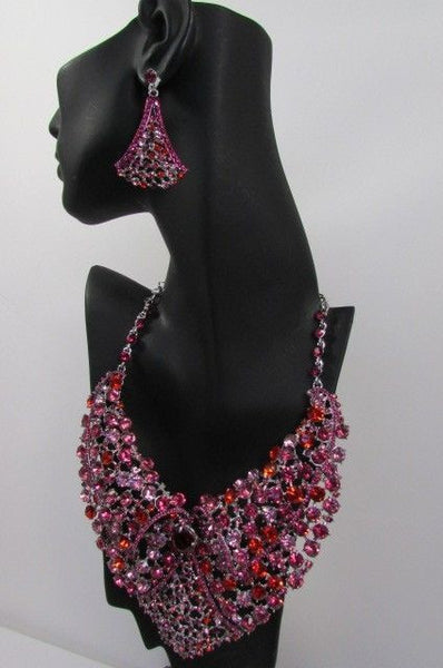 Red With Pink / Silver / Multi Colored Rhineston Bid Collar Metal Chains Necklace + Earrings Set New Women Fashion - alwaystyle4you - 44