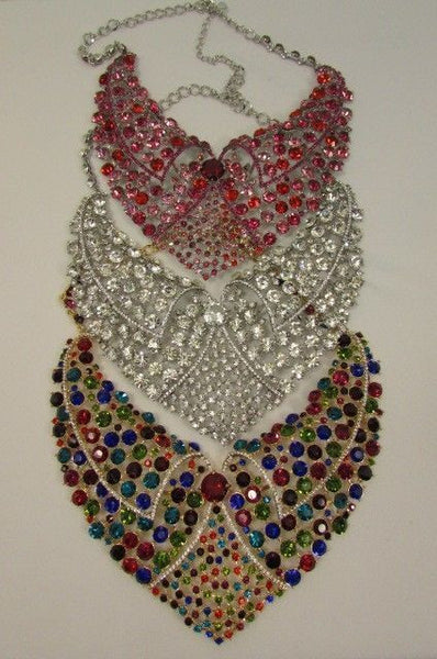 Red With Pink / Silver / Multi Colored Rhineston Bid Collar Metal Chains Necklace + Earrings Set New Women Fashion - alwaystyle4you - 2