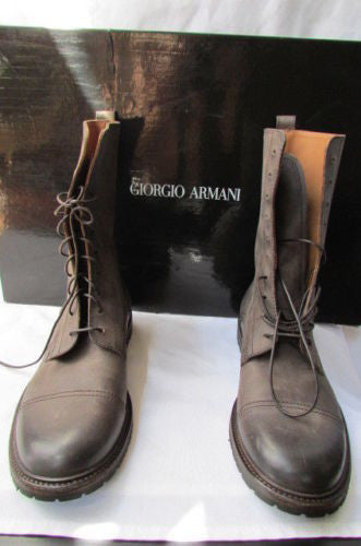 Taupe Brown Leather High Trendy Boots New Men Fashion Giorgio Armani  Size 7.5 $1250
