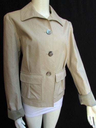 Beige Short Cotton Jacket Military Multi Buttons New Giorgio Armani New Fashion Women Size 44/10