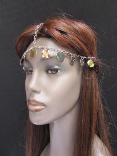 Gold Silver Metal Head Chain Forehead Multi Circlet Coin Bead Women Hair Accessories