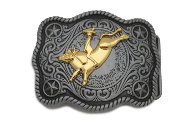 New Men Belt Buckle Dark Silver Metal Cowboy Western 3D Rodeo Bull Riding Gold - alwaystyle4you - 6