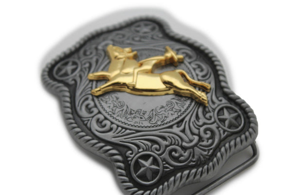 New Men Belt Buckle Dark Silver Metal Cowboy Western 3D Rodeo Bull Riding Gold - alwaystyle4you - 2