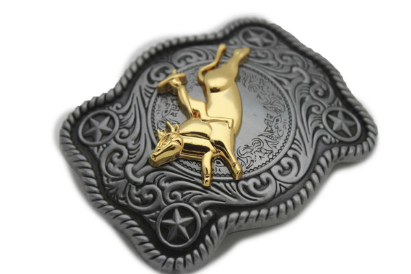 New Men Belt Buckle Dark Silver Metal Cowboy Western 3D Rodeo Bull Riding Gold - alwaystyle4you - 3