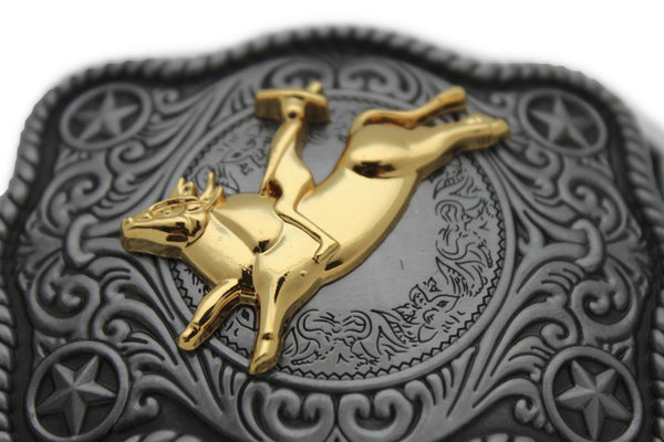 New Men Belt Buckle Dark Silver Metal Cowboy Western 3D Rodeo Bull Riding Gold - alwaystyle4you - 4