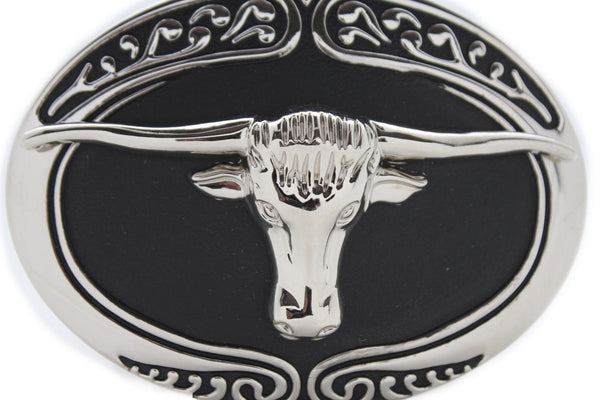 New Men Big Belt Buckle Western Cowboy Black Bull Skull Long Texas Horn Cow TX - alwaystyle4you - 1