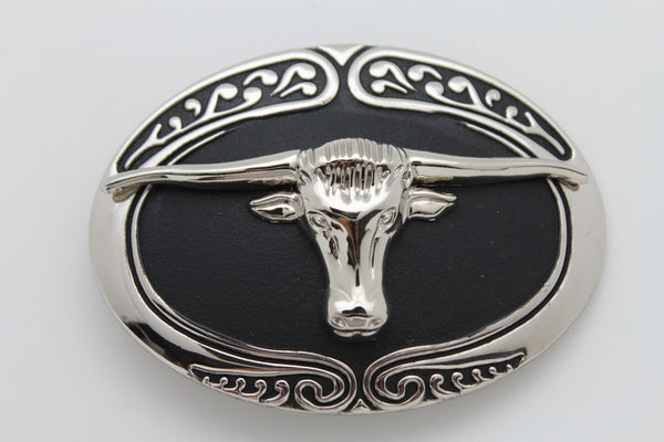 New Men Big Belt Buckle Western Cowboy Black Bull Skull Long Texas Horn Cow TX - alwaystyle4you - 3
