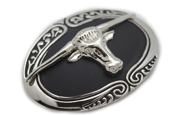 New Men Big Belt Buckle Western Cowboy Black Bull Skull Long Texas Horn Cow TX - alwaystyle4you - 4