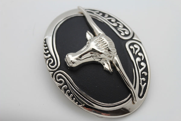 New Men Big Belt Buckle Western Cowboy Black Bull Skull Long Texas Horn Cow TX - alwaystyle4you - 5