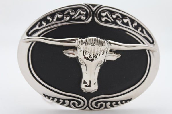 Silver Metal Black Bull Skull Long Horn Cow TX Big Belt Buckle Men Rodeo Style Accessories
