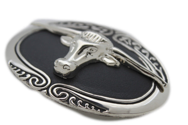 New Men Big Belt Buckle Western Cowboy Black Bull Skull Long Texas Horn Cow TX - alwaystyle4you - 10