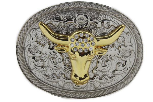 New Men Big Belt Buckle Western Cowboy Bull Long Texas Horn Cow Silver Gold Bead - alwaystyle4you - 1