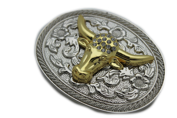 New Men Big Belt Buckle Western Cowboy Bull Long Texas Horn Cow Silver Gold Bead - alwaystyle4you - 2