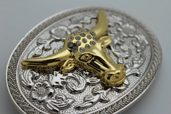 New Men Big Belt Buckle Western Cowboy Bull Long Texas Horn Cow Silver Gold Bead - alwaystyle4you - 3