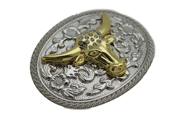 New Men Big Belt Buckle Western Cowboy Bull Long Texas Horn Cow Silver Gold Bead - alwaystyle4you - 4