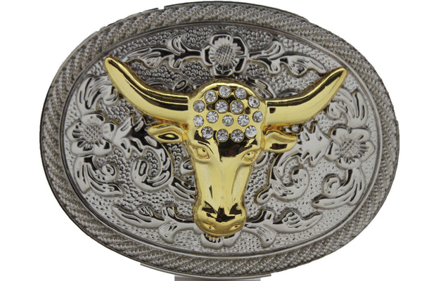New Men Big Belt Buckle Western Cowboy Bull Long Texas Horn Cow Silver Gold Bead - alwaystyle4you - 8