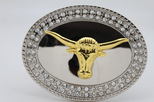 New Men Big Belt Buckle Western Cowboy Bull Long Texas Long Horn Cow Silver Gold - alwaystyle4you - 4