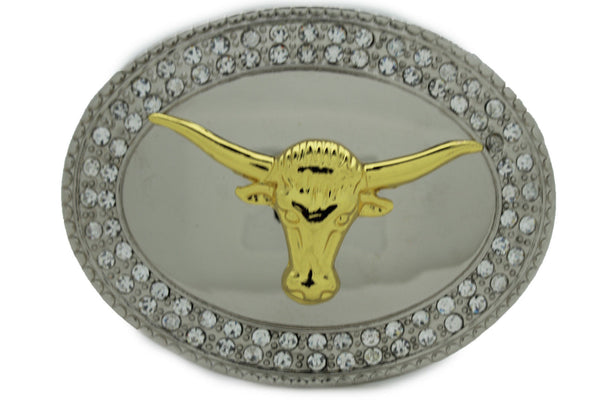 New Men Big Belt Buckle Western Cowboy Bull Long Texas Long Horn Cow Silver Gold - alwaystyle4you - 5
