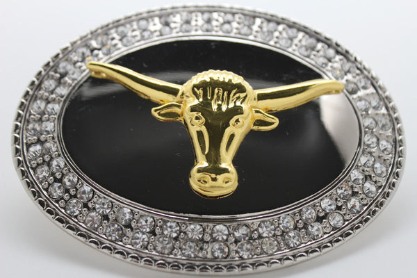 New Men Big Belt Buckle Western Cowboy Bull Long Texas Long Horn Cow Silver Gold - alwaystyle4you - 6
