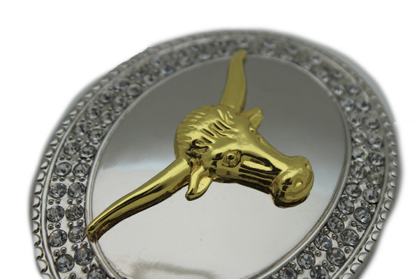New Men Big Belt Buckle Western Cowboy Bull Long Texas Long Horn Cow Silver Gold - alwaystyle4you - 9