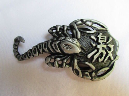 Silver Metal Big Long Black Scorpion Belt Buckle New Men Fashion Cowboy Western Accessories