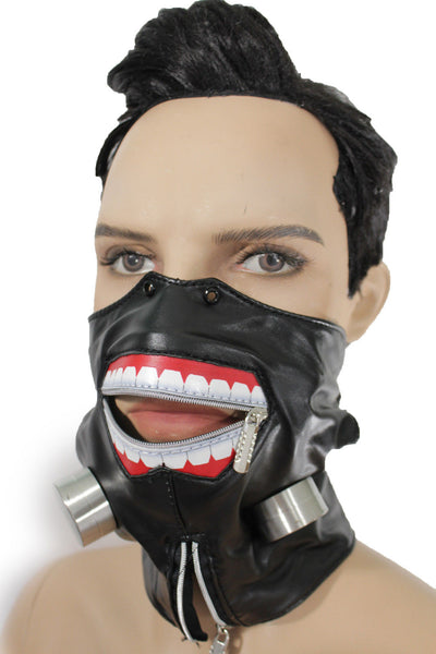 Black Faux Leather Biohazard Zipper Mouth Muzzle S&M Face Mask Halloween Accessories
