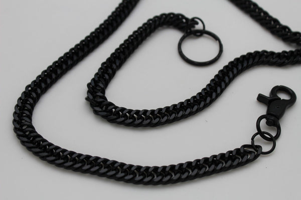Black Metal Links Extra Long Wallet Chains  KeyChain Jeans Classic Biker Motorcycle Accessory New Men Style - alwaystyle4you - 12