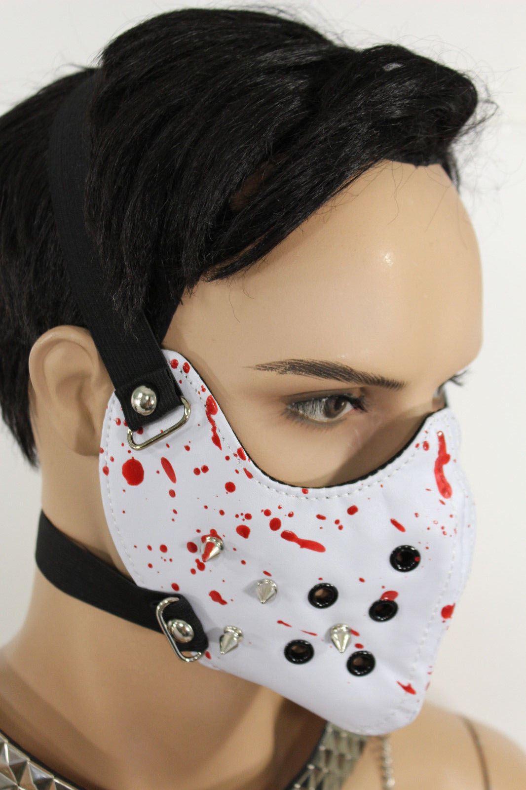 White Faux Leather Hannibal Blood Spikes Mouth Muzzle S&M Face ...