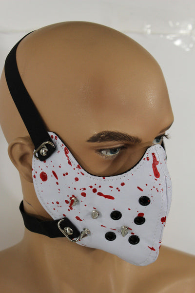 White Faux Leather Hannibal Blood Spikes Mouth Muzzle S&M Face Mask Halloween Accessories