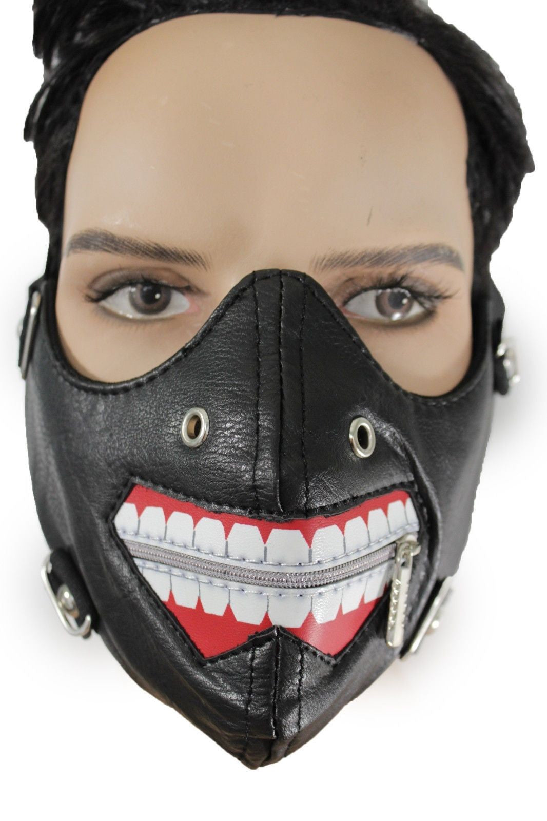 Black Faux Leather Mouth Muzzle S&M Rave Goth New Men Halloween ...