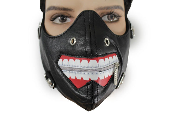 Black Faux Leather Mouth Muzzle S&M Rave Goth New Men Halloween Costume Accessories