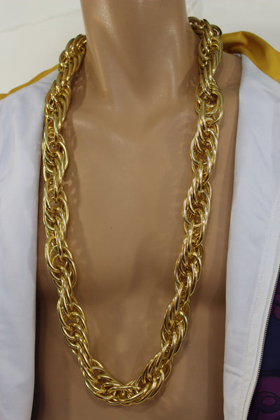 Men Chunky Metal Double Chunky Gold Metal Chain Link Long Necklace Miami Hip Hop