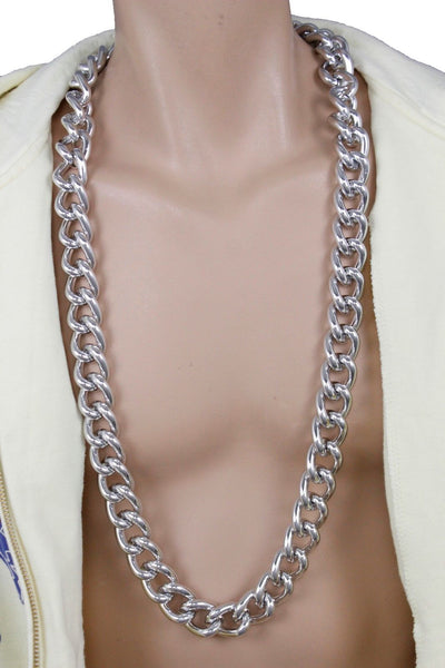 New Men Women Necklace Gold Silver Metal Chains Extra Long Chunky Thick Links Fashion Accessories