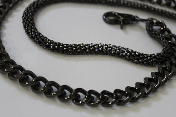 Black Pewter Metal Wallet Chain Classic Chunky KeyChain Punk Rocker Biker Jeans 2 Strands New Men Style - alwaystyle4you - 12