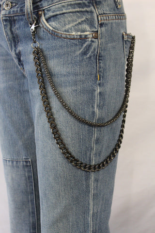 Black Pewter Metal Wallet Chain Classic Chunky KeyChain Punk Rocker Biker Jeans 2 Strands New Men Style - alwaystyle4you - 1