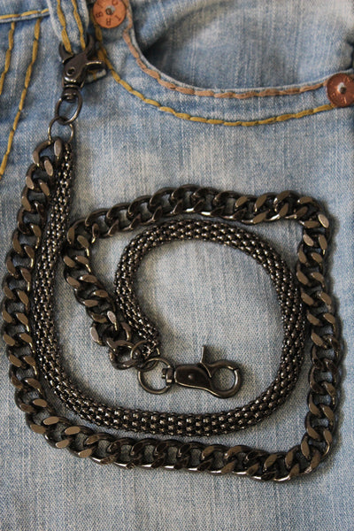 Black Pewter Metal Wallet Chain Classic Chunky KeyChain Punk Rocker Biker Jeans 2 Strands New Men Style - alwaystyle4you - 2