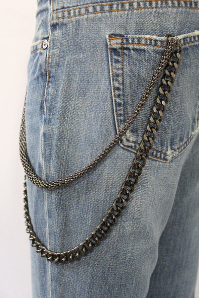 Black Pewter Metal Wallet Chain Classic Chunky KeyChain Punk Rocker Biker Jeans 2 Strands New Men Style - alwaystyle4you - 3