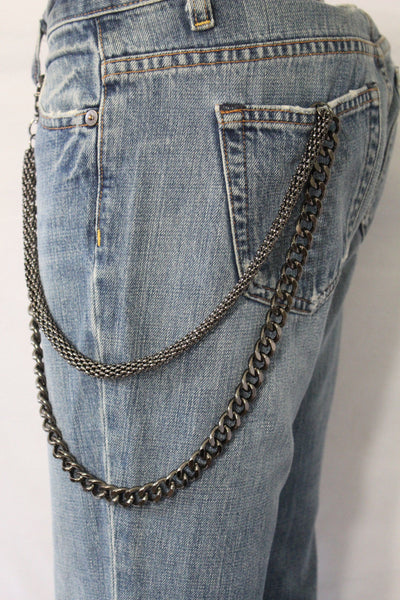 Black Pewter Metal Wallet Chain Classic Chunky KeyChain Punk Rocker Biker Jeans 2 Strands New Men Style - alwaystyle4you - 4