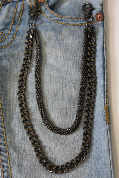 Black Pewter Metal Wallet Chain Classic Chunky KeyChain Punk Rocker Biker Jeans 2 Strands New Men Style - alwaystyle4you - 5
