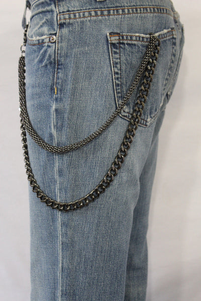 Black Pewter Metal Wallet Chain Classic Chunky KeyChain Punk Rocker Biker Jeans 2 Strands New Men Style - alwaystyle4you - 11